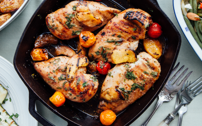 Bourbon Glazed BBQ Chicken w/ Grilled Peaches