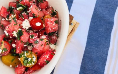 Watermelon Feta Basil Salad